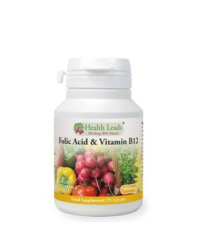 Health Leads Folsäure (Vitamin B9) 500mcg + Vitamin B12 500mcg x 90 Kapseln