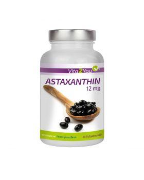 Vita2You Astaxanthin 12mg  Hochdosiert - Natürlich aus Blutregenalgen - 60 Softgel Kapseln