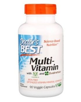 Doctor's Best Multi-Vitamin with Vitashine D3 and Quatrefolic 90 veg. caps