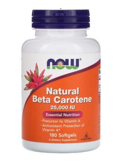 Now Foods Vitamin A (als natürliches Beta Karotin) 25,000 IU, 180 Softgel Kapseln