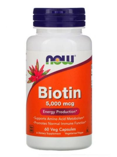 Now Foods Biotin HIGH STRENGHT 5,000 mcg 60 Veg Capsules
