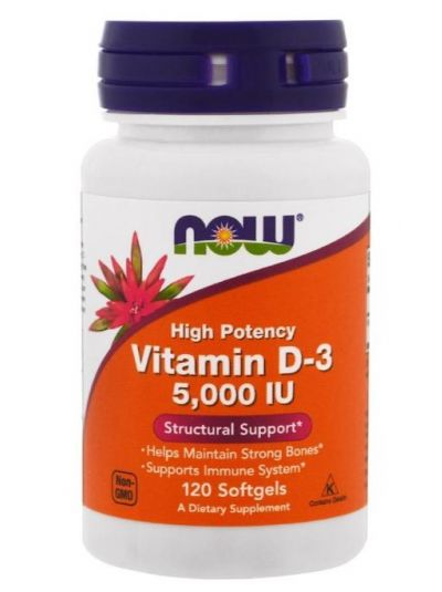 Now Foods Vitamin D-3 High Potency 5,000 IU 120 Softgels