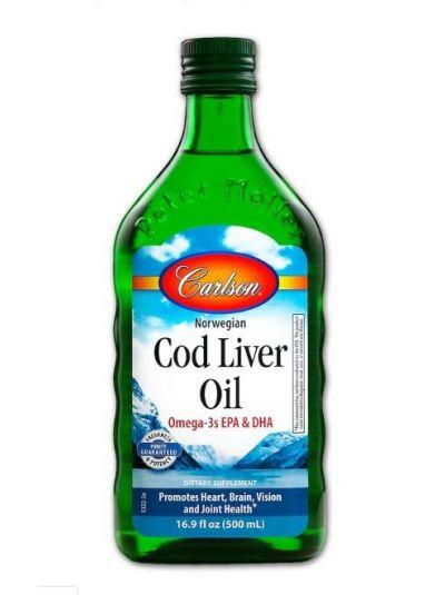 Carlson Labs Norwegisches Dorschleberöl, natürlicher GEschmack 500 ml