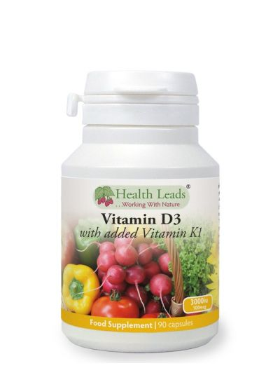 HEALTH LEADS VITAMIN D3 3000 IU und vitamin K1 100 mcg HYPOALLERGEN 90 KAPSELN