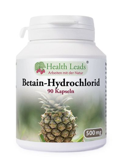 Health Leads Betain Hydrochlorid HCL 500mg x 90 Capsules