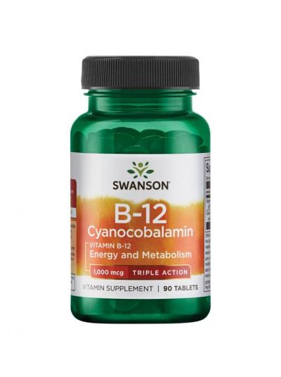 Swanson Ultra- Vitamin B12 Cyanocobalamin - Triple Action 1000mcg 90 Tablets