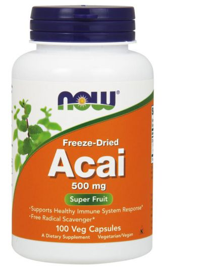 Now Foods Freeze-Dried Acai 500 mg 100 Veg Capsules