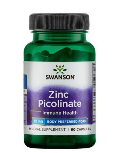 Swanson Zink Picolinat (Körper bevorzugte Form) 60 Kapseln 22 mg