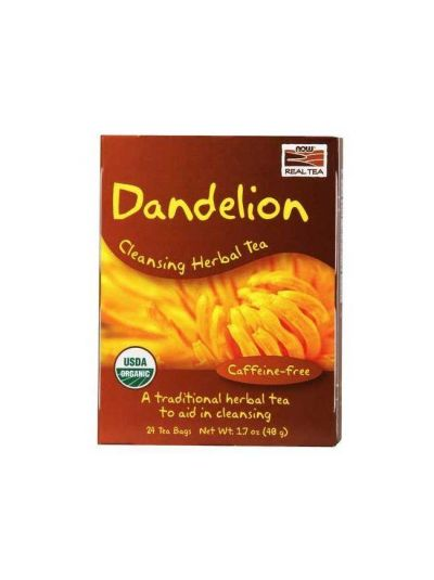 Now Foods Dandelion Cleansing Herbal Tea (Caffeine-Free), 24 Tea Bags, 48 g
