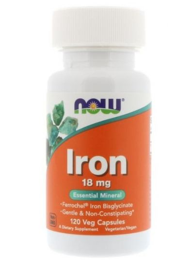 Now Foods Iron 18 mg 120 Veg Capsules