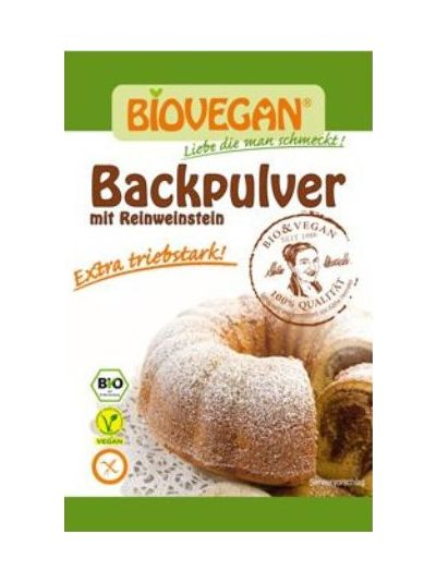 Biovegan Backpulver mit Reinweinstein 4 x 17 g