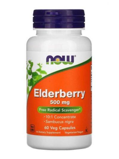 Now Foods, Elderberry (Holunder), 500 mg, 60 vegetarische Kapseln