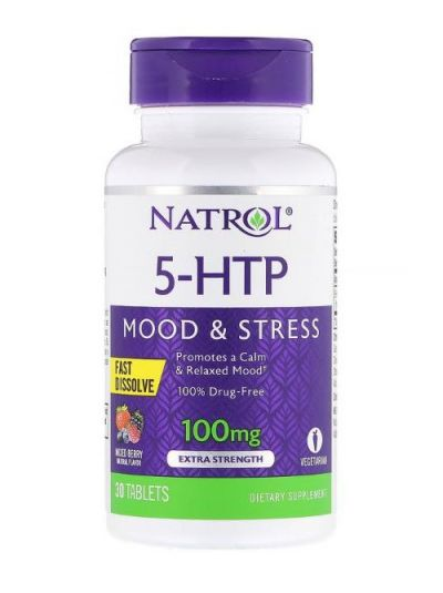 Natrol 5-HTP Fast Dissolve (Schnell Löslich), Extra-Stark, Geschmack Wilder Beeren, 100 mg, 30 Tabletten