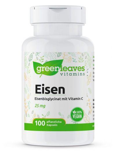 Green Leaves Eisenbisglycinat 25 mg mit Vitamin C 120 Kapseln