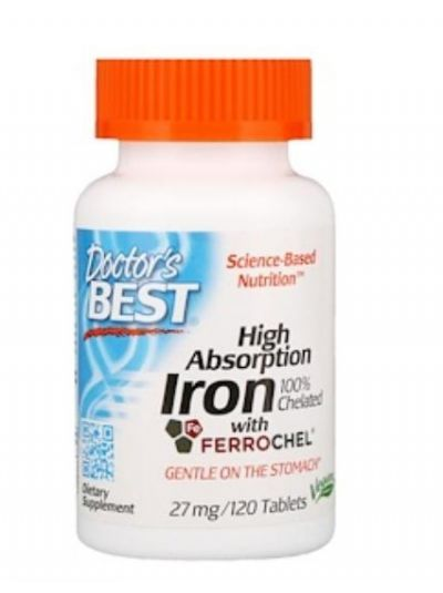 Doctor's Best High Absorption Iron Elementary / Chelated 27 mg 120 Tablets
