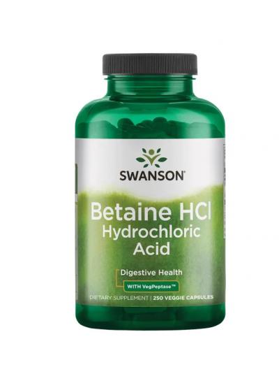 Swanson Premium- Betaine HCl Hydrochloric Acid with VegPeptase 250 vege capsules