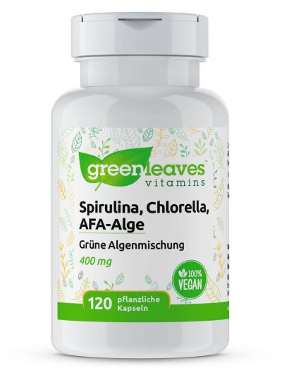Green Leaves Spirulina, Chlorella, AFA-Alge 400 mg 120 vege Kapseln