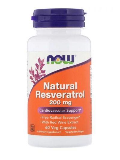 Now Foods Natürliches Resveratrol 200 mg 60 vegetarische Kapseln