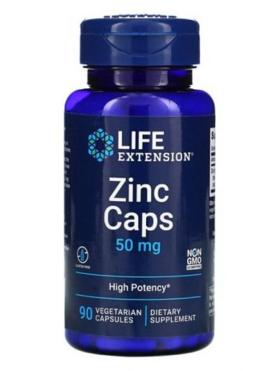 LIFE EXTENSION ZINC CAPSULES, HIGHLY EFFECTIVE, 50 MG, 90 VEGGIE CAPSULES