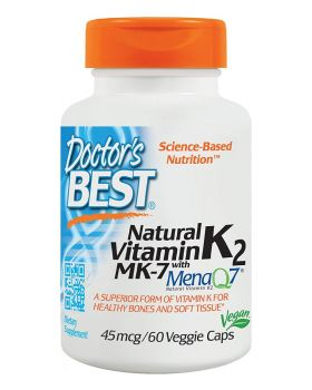 Doctor's Best Natural Vitamin K2 with MenaQ7 45 mcg 60 Veggie Caps