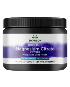 Swanson Magnesium Citrate Powder, 100% Pure - Unflavored, 244g