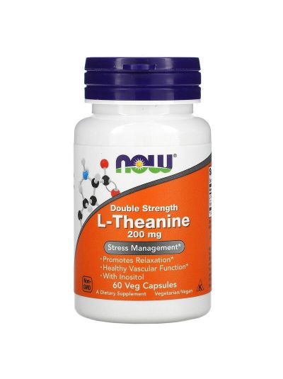 NOW FOODS L-THEANINE DOUBLE STRENGTH, 200 MG, 60 VEGETABLE CAPSULES