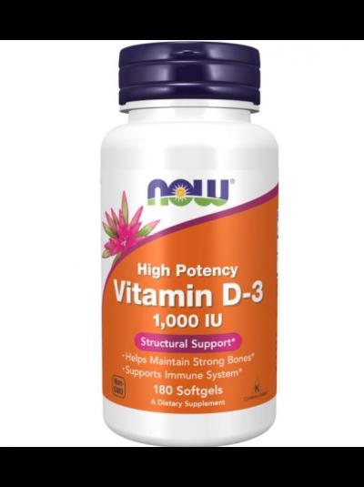 Now Foods Vitamin D-3 High Potency 25 mcg (1,000 IU), 180 Softgels
