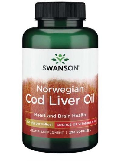 Swanson Norwegian Cod Liver Oil 350 mg 250 Softgels