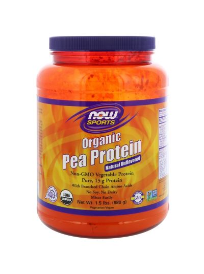 Now Foods 100% pure Organic Pea Protein Natural Unflavored 680 g