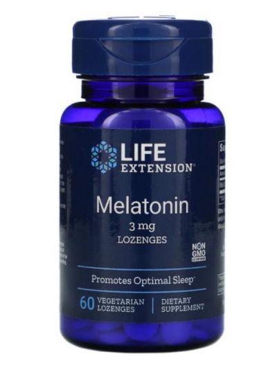 Life Extension, Melatonin, 3 mg, Lozenges Lutchtabletten 60 Vegetarian