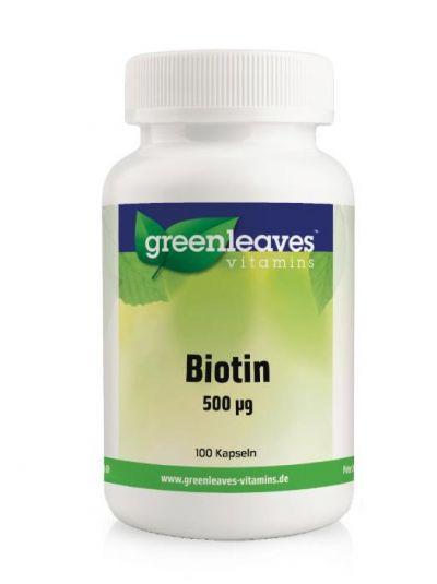 Green Leaves BIOTIN 500 MCG 100 Kapseln