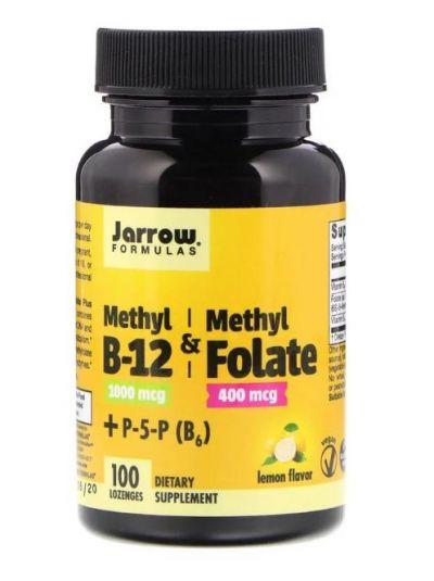 Jarrow Formulas, Methyl B-12 & Methylfolat, Zitronengeschmack, 1000 mcg / 400 mcg, 100 Lutschtabletten