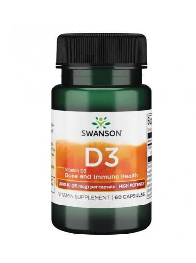 Swanson Premium Vitamin D3 High Potency 1000IU 60 Capsules
