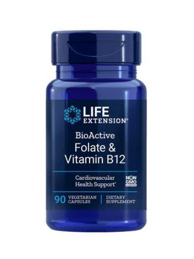 Life Extension BioActive Folat & Vitamin B12, 90 Vege. Kapseln