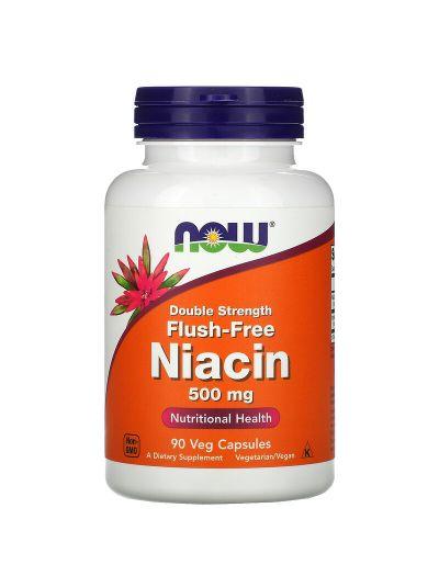 Now Foods Flush-Free Niacin Double Strength, 500 mg, 90 Veg Capsules