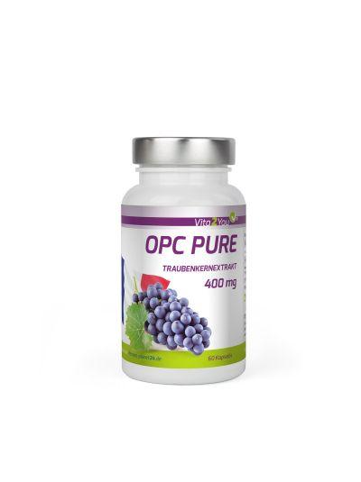 Vita2You OPC Pure Traubenkernextrakt 400mg pro Kapsel - Traubenkerne aus Frankreich - 60 Kapseln